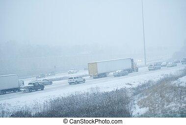 Winter Storm on Highway
