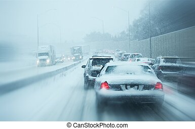 Winter Storm Traffic. I-294 Chicago Highway During Snow Storm. Heavy Snowfall and Heavy Traffic.