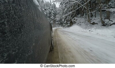 winter, straat, speeding