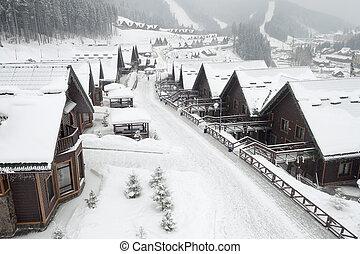 alpine village - winter street in alpine village under ...