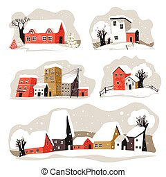 Winter street in city or town, snowy houses rooftops