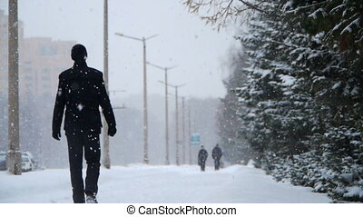 Winter street with people