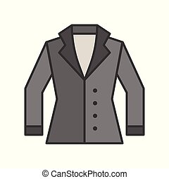 winter suit, filled color outline editable stroke