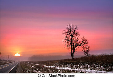 Scenic winter sunset on scenic by way route 6 Pennsylvania