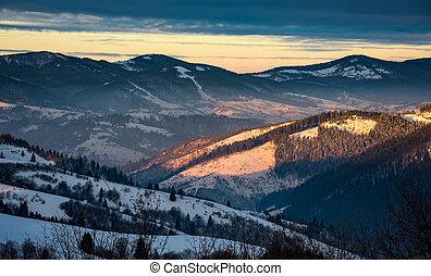 winter sunrise in Carpathian mountains. beautiful landscape...