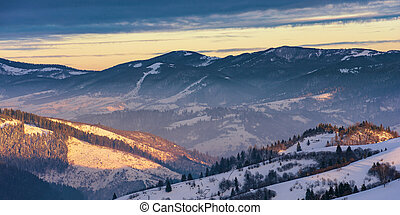 winter sunrise in mountains