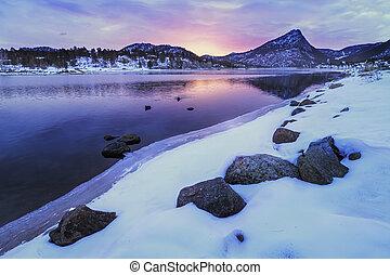 Winter Sunrise on Lake Estes in Estes Park Colorado