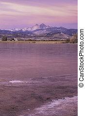 Winter sunrise on Longs Peak Mountain in Northern Colorado