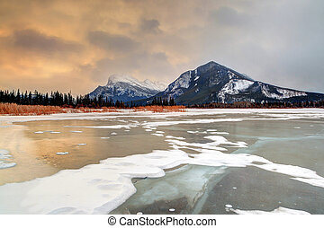Winter Sunrise Over Frozen Vermilion Lakes in Banff National Park