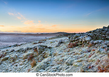 Winter Sunrise over Rugged Moorland