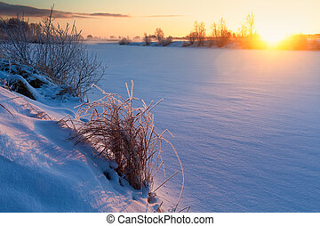 Winter Sunrise Over The Icy River