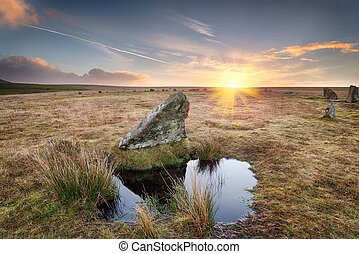Winter Sunrise - Winter sunrise at Stannon Stone Circle on...