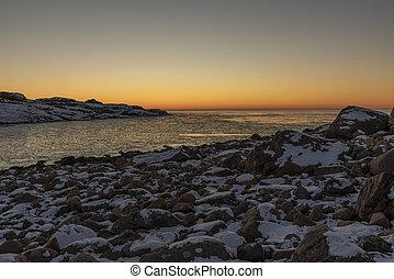 Winter sunset at Skagerrak sea in Sweden