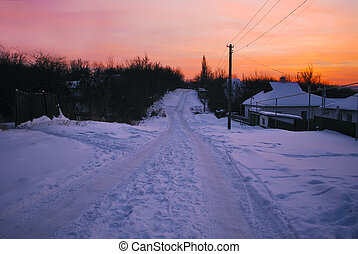 winter sunset in countryside