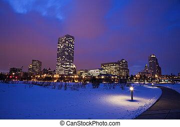 Winter sunset in Milwaukee, Wisconsin
