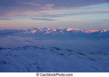 Winter sunset in mountains, Mount Erciyes view, Turkey