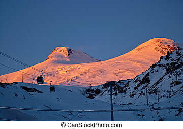 Winter sunset in the mountains