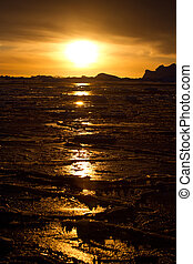 winter sunset in the waters of Antarctica