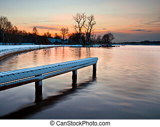 Winter sunset lake