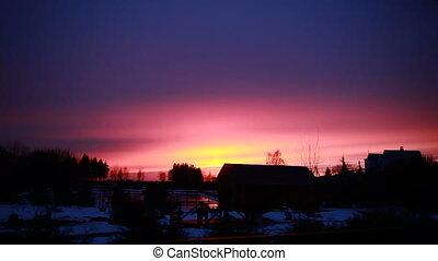 Winter sunset landscape