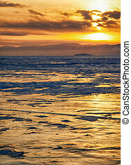 Winter sunset over Baikal lake