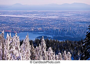 Winter sunset over city of Vancouver.