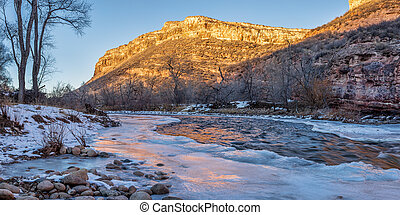 winter sunset over Poudre River