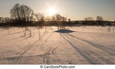 Winter sunset. Panorama. Time Lapse, Russia