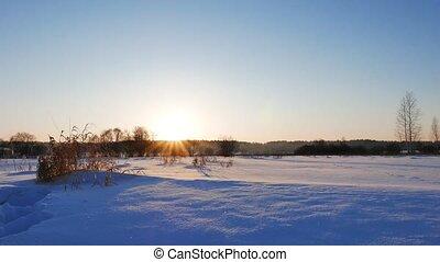 Winter sunset. Russia