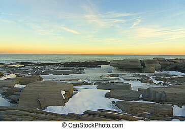 Winter Sunset - A winter sunset at Two Lights state park in...
