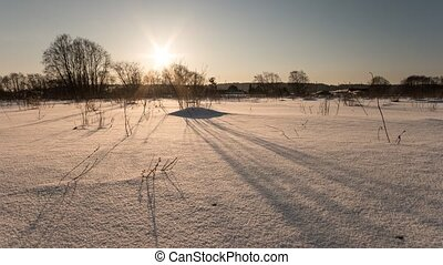 Winter sunset. Time Lapse, Russia