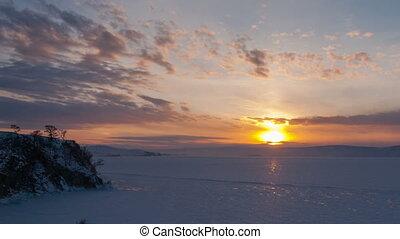 Winter sunset timelapse