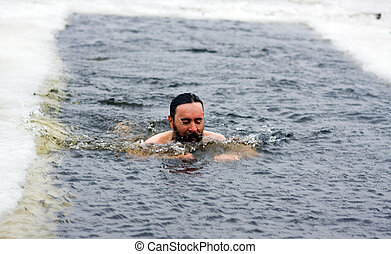 Winter swimming - Traditional winter swimming for a...