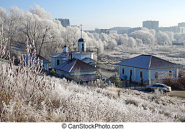 winter, tag, in, der, russische, village.
