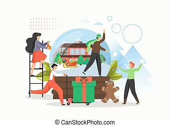 Winter tale. Happy people preparing for Christmas holidays celebration, expecting magic things, flat vector illustration