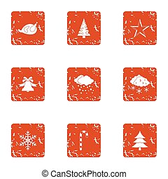 Winter tale icons set, grunge style
