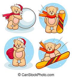 winter teddy bears set