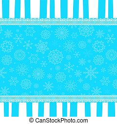 Winter template  with copy space on blue and white striped snowy