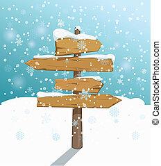 winter., testo, sagoma, incrocio, puntatore, vuoto