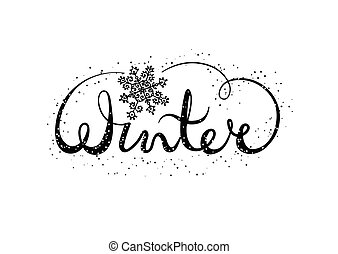 Winter text lettering with snowflake. Seasonal shopping concept to design banners, price or label.