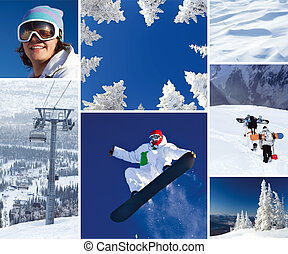Winter theme - Collage of winter nature and snowboarders