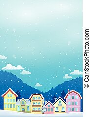 Winter theme with Christmas town image 1