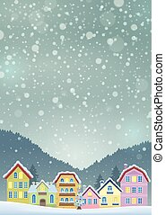 Winter theme with Christmas town image 3