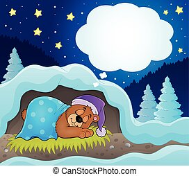 Winter theme with dreaming bear