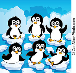Winter theme with penguins 1