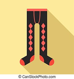 Winter tights icon, flat style