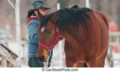 Winter time. A woman brush off the snow from her horse. Mid...