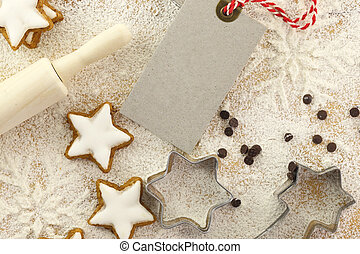 Winter time baking creative background