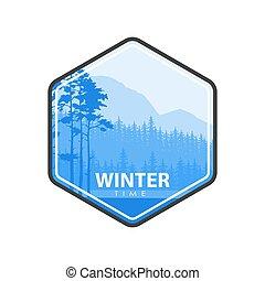Winter time blue emblem - Vector illustration of blue...