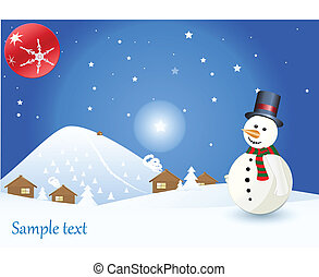 winter time christmas landscape with snowman, vector